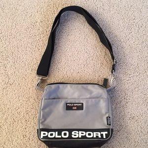 Silver canvas Polo Sport purse